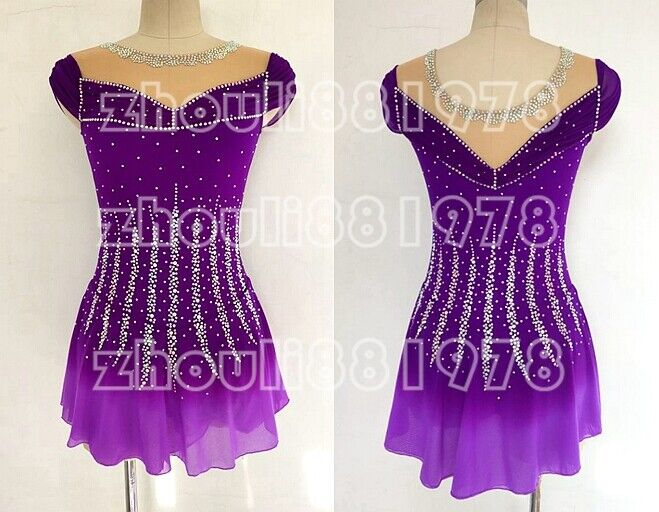 Figure Skating Dress Women's Girls' Ice Skating Dress purple dyeing Spandex