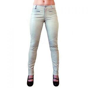 Mujer-Pantalones-Cuero-Vaqueros-De-Blanco-Slimfit-DALILA-CABRAS-nappa-echtleder