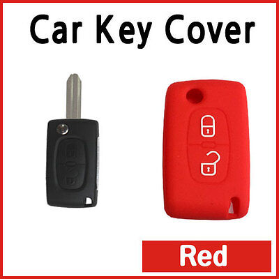 CAR KEY COVER SILICON Protector Fits PEUGEOT 207 307 308 407 REMOTE FLIP KEY RED