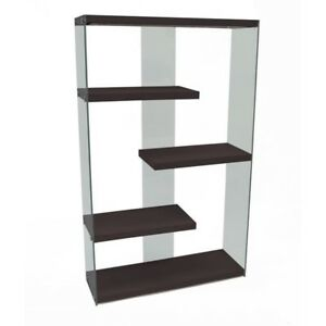 Monarch Specialties Tempered Glass Floating Shelf Bookcase