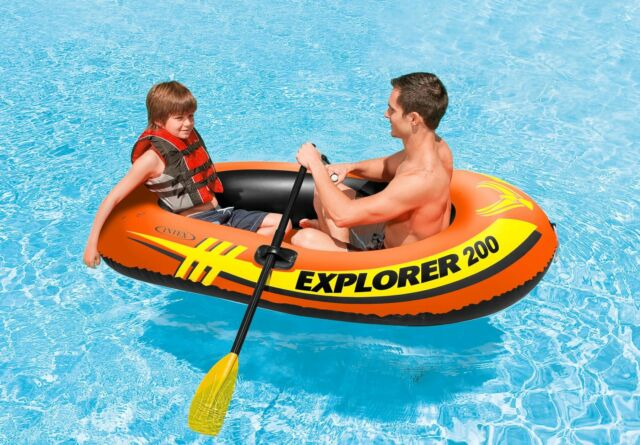Intex Explorer 200 Set Two Person Inflatable 6ft Boat/48' Oar and Mini Hand Pump
