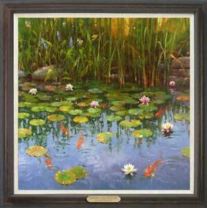 """Hand-painted Original Oil painting art Landscape Water lilies on Canvas 30""""x30"""""""