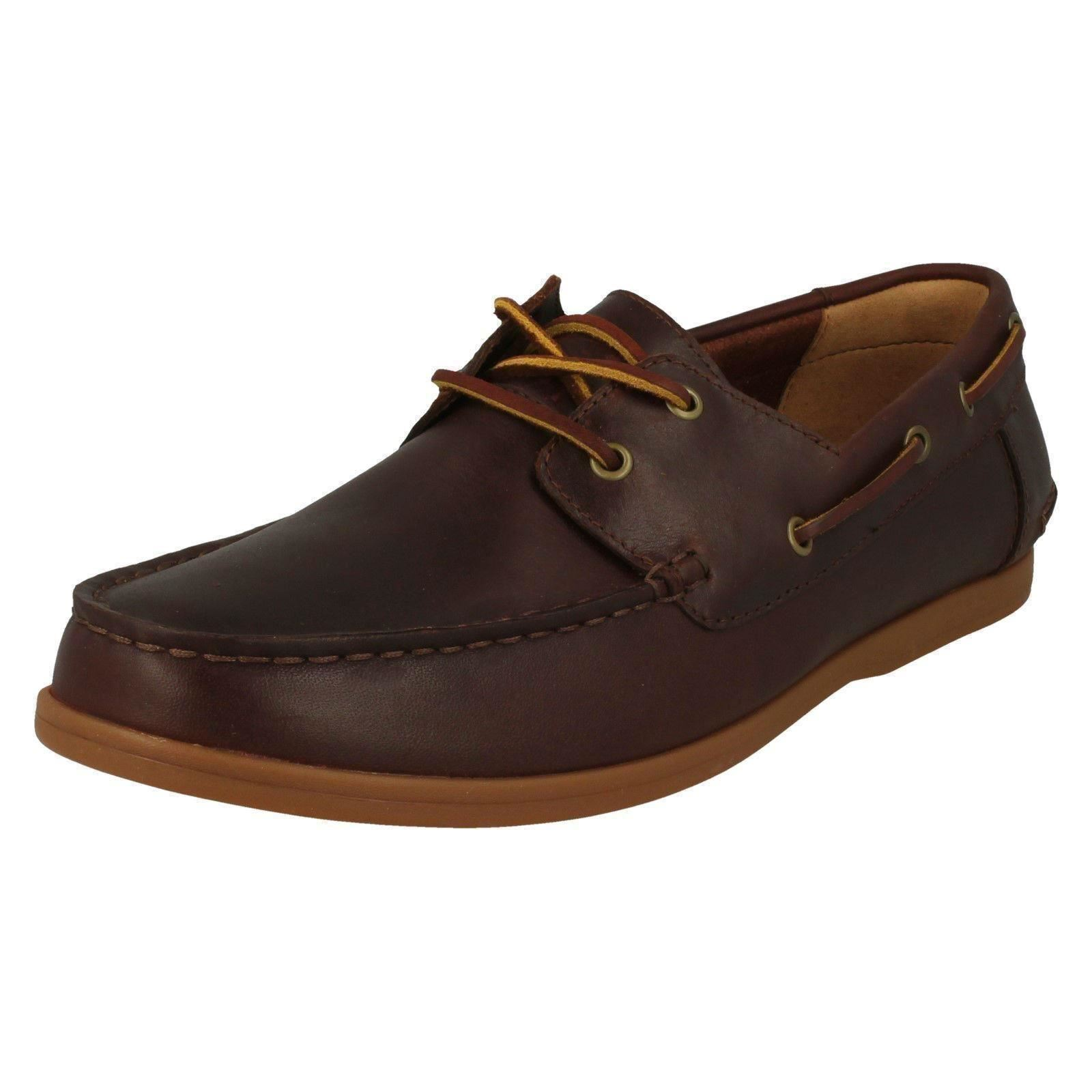 Herren Clarks Morven Sail British Tan Or Navy Schuhes Leder Lace Up Boat Schuhes Navy 300246