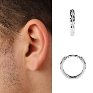 Details About 14k Solid White Gold Mens Single Huggie Hoop Earring Dc 14mm X 3mm 1 2 Pair