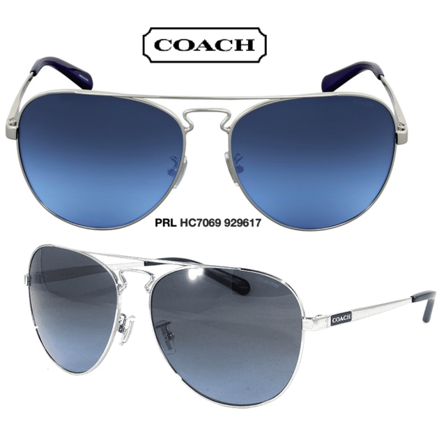 Authentic Coach Blue Lens 929617 Hc7069 60mm Silver Frames Navy Sunglasses N0XOk8nPw