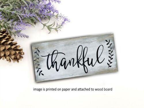 "Thankful Inspirational Kitchen Coffee Bar  Wood Sign  Home Decor Rustic 8x3/"" eg"