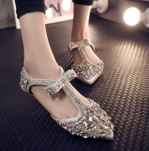 C953 scarpe scarpe sposa da punta Fiori a strap Strass Mocassini Womens Flats T a1p7c8q