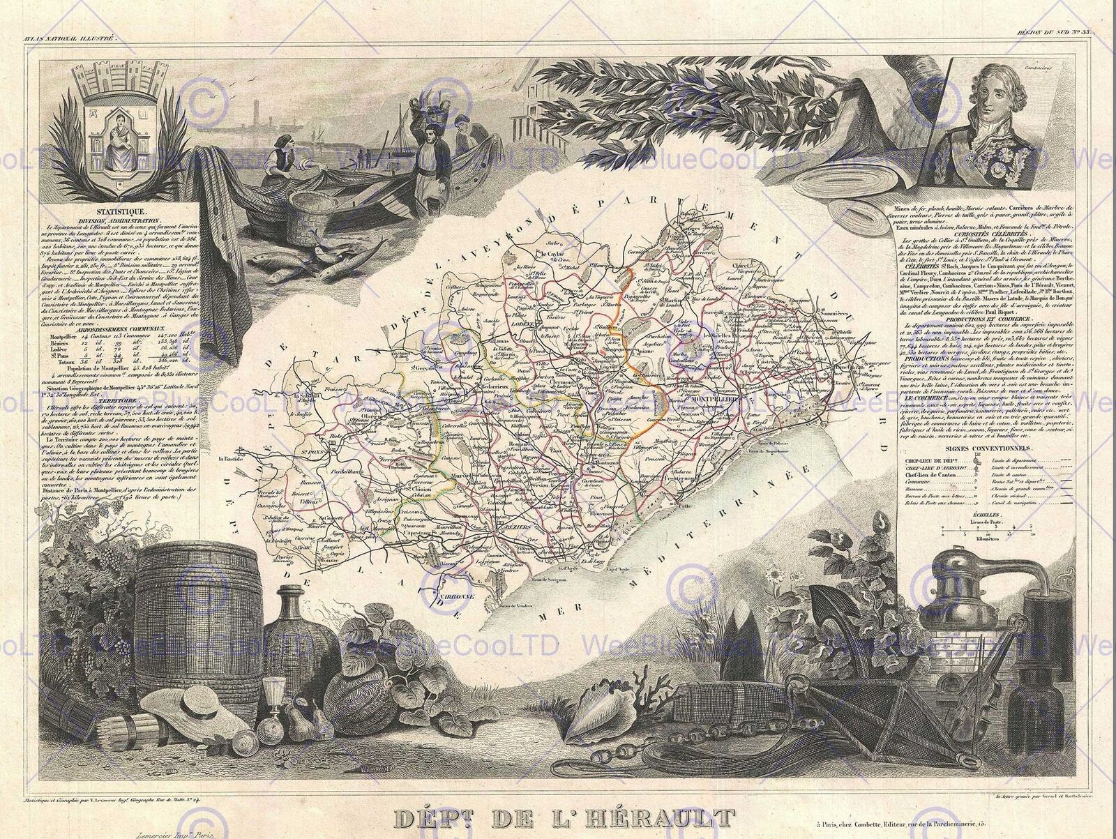 ISLE OF WIGHT VINTAGE ANTIQUE MAP ART PRINT Poster British County Hotel B/&B Room