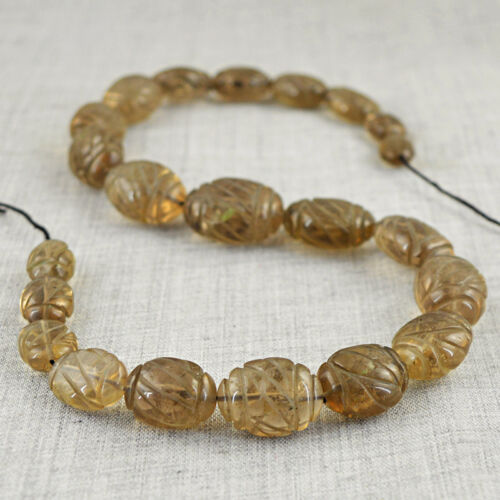 437.00 Cts 15 Inches Earth Mined Drilled Smoky Quartz Carved Beads Strand