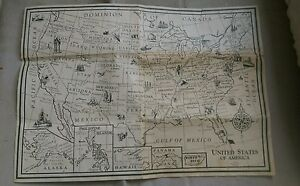 Details about Vintage Lithograph Lithographed Hassenfeld United States Of  America Road Map htf