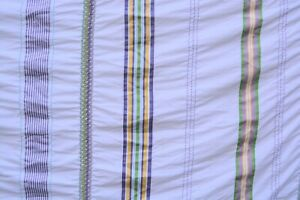 Shabby-French-Country-style-QUEEN-duvet-cover-white-purple-green-yellow-stripes