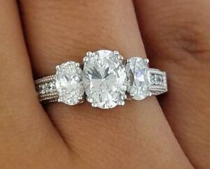 38496283f2113 3 Stone 2 CT Oval Diamond Engagement Wedding Anniversary Ring 14k ...