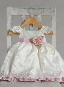 Stunning-Ivory-Pink-Ruffle-Embroidered-Flower-Girl-Party-Dress-Crayon-Kids-USA