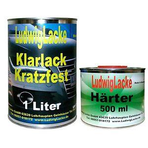 1-Liter-Klarlack-amp-0-5Liter-Haerter-ueber-Basislack-Metallic-Autolack-Fahrzeuglack