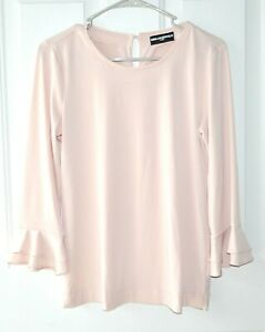 Karl-Lagerfeld-Paris-S-Layered-Bell-Sleeve-Blush-Pink-Keyhole-Stretch-Blouse-Top