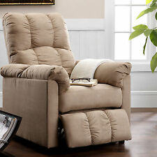 Dorel Living Slim Microfiber Recliner Reclining Easy Chair Room Furniture Beige