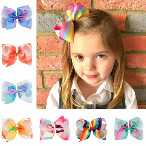 8 inch Girl Rainbow Bows Hair Clip large rib Grosgrain Ribbon Bow Hairpin Baby