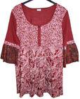NEUF FEMMES 3/4 bras long chemise tunique bordeaux rouge multicolore col rond