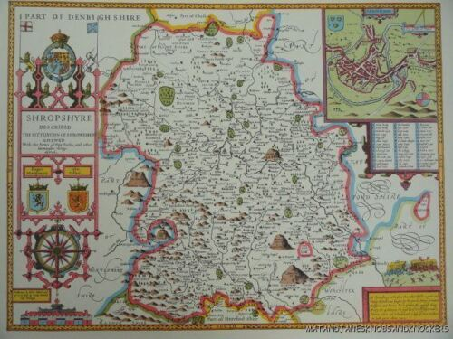 OLD COPY OF JOHN SPEED MAP OF SHROPSHIRE TOWN PLAN