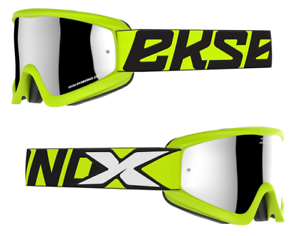 NEW 2019 EKS X BRAND MOTOCROSS MX GOGGLES GOX HAZARD FLO YELLOW IRIDIUM LENS