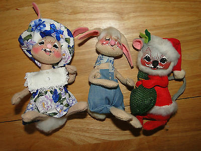 (3) Annalee Gorgeous Rabbit & Christmas Mouse Dolls Modern And Elegant In Fashion