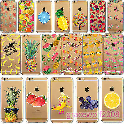 New TPU Case Cover Skin For Apple iPhone 6 6S 6Plus Transparent Fruits Pattern