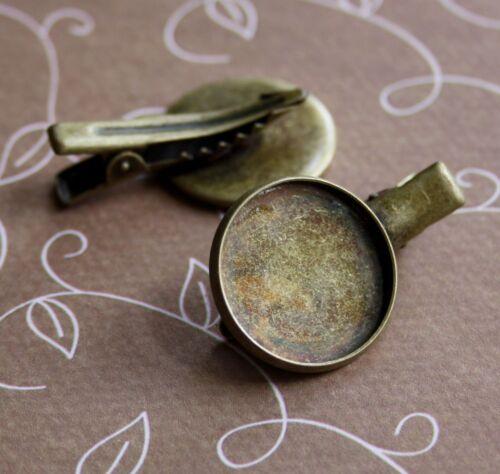Vintage Antique Bronze Hair Clip with Resin Base 4 pcs