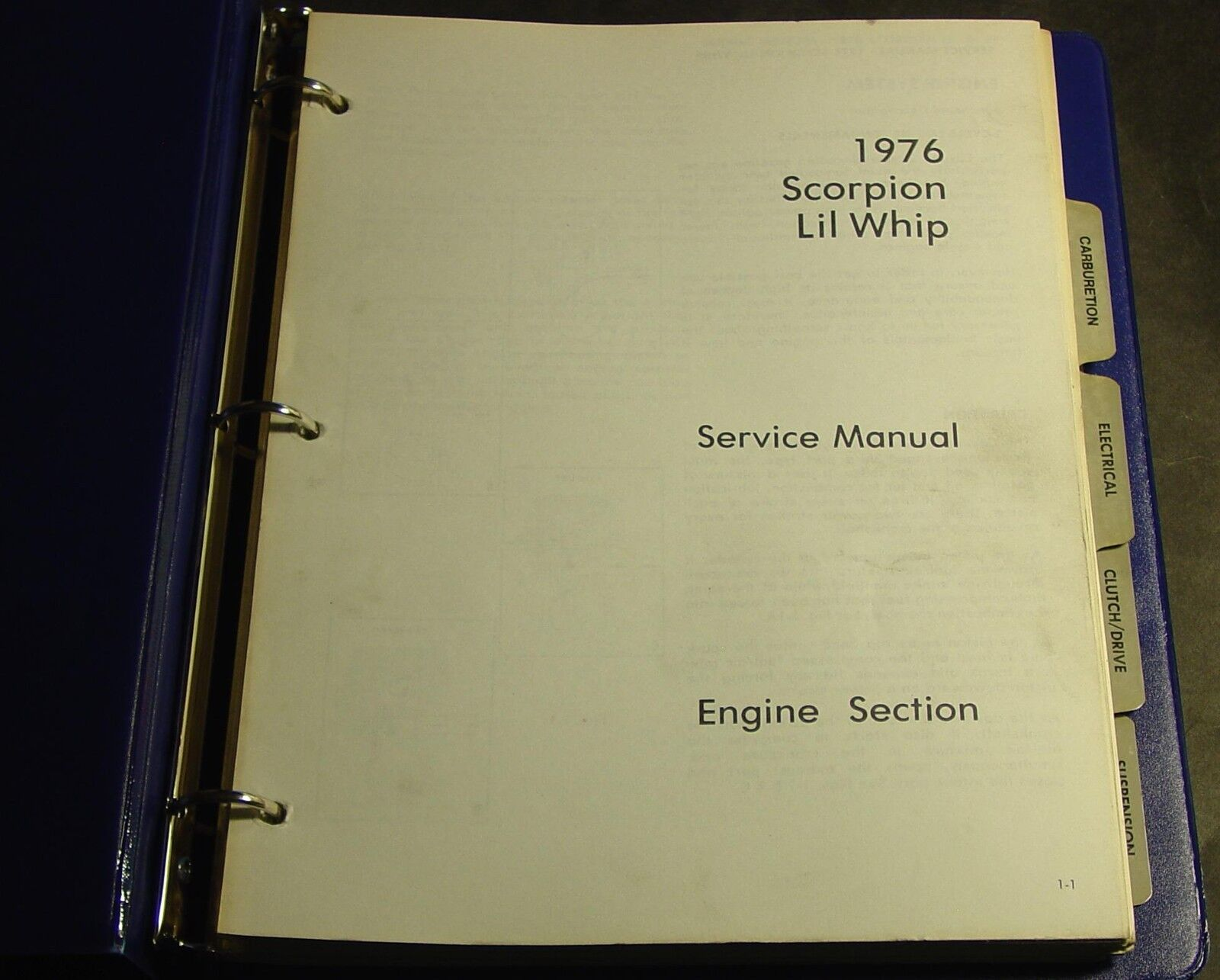 1976 SCORPION LIL WHIP SNOWMOBILE SERVICE MANUAL in BINDER (839)