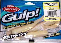 Berkley Gulp Saltwater Fishing Lure 6 Grub White Glow Gsg6-wg