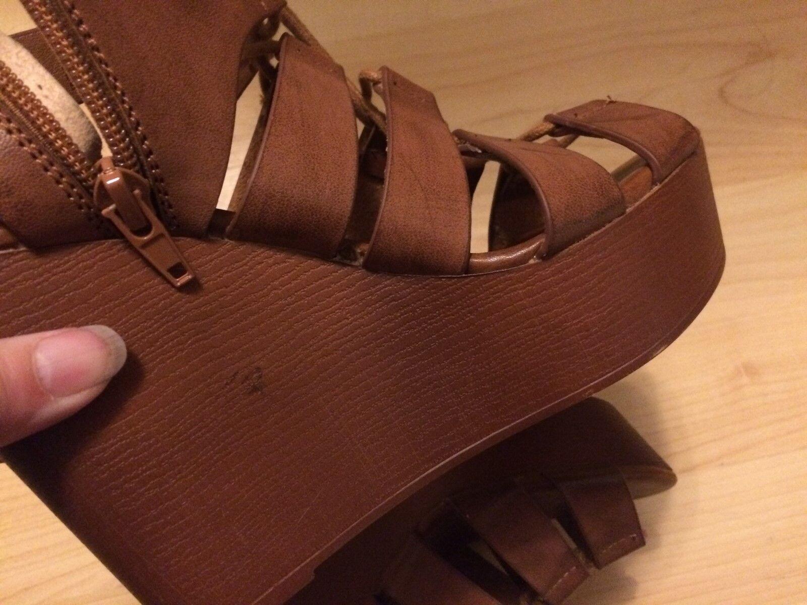 NEW STEVE MADDEN TAN CAMEL Marronee GLADIATOR PLATFORM SANDAL SANDAL SANDAL 5 Fake Leather 40eebe