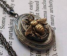Victorian Steampunk HONEY BEE BUMBLEBEE - Double 2 VTG LOCKET - Necklace