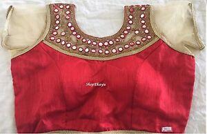 Indian/Pakistani Ethnic Designer Mirror Work Blouse/Choli -Red