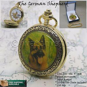 14K GOLD GERMAN SHEPHERD Enamel Cover Antique Pocket Watch Gift Chain Box C53