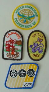 Vintage 1980s Girl Scout Guide Patch lot SKILLS DAY CAMPING WORLD FRIENDSHIP '86