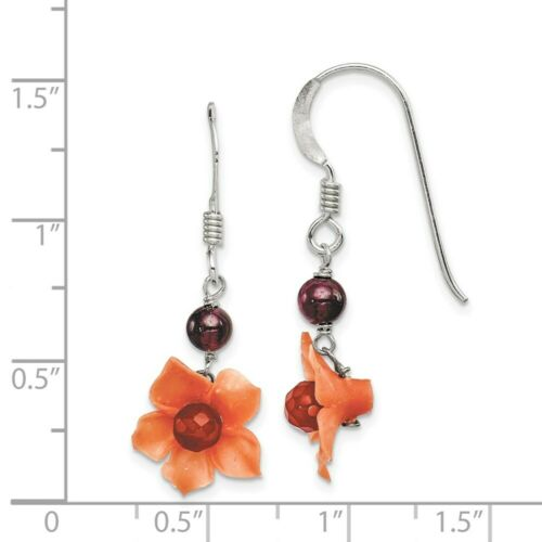 Sterling Silver Garnet Bead /& Carnéol Dangle Fleur Boucles d/'oreilles