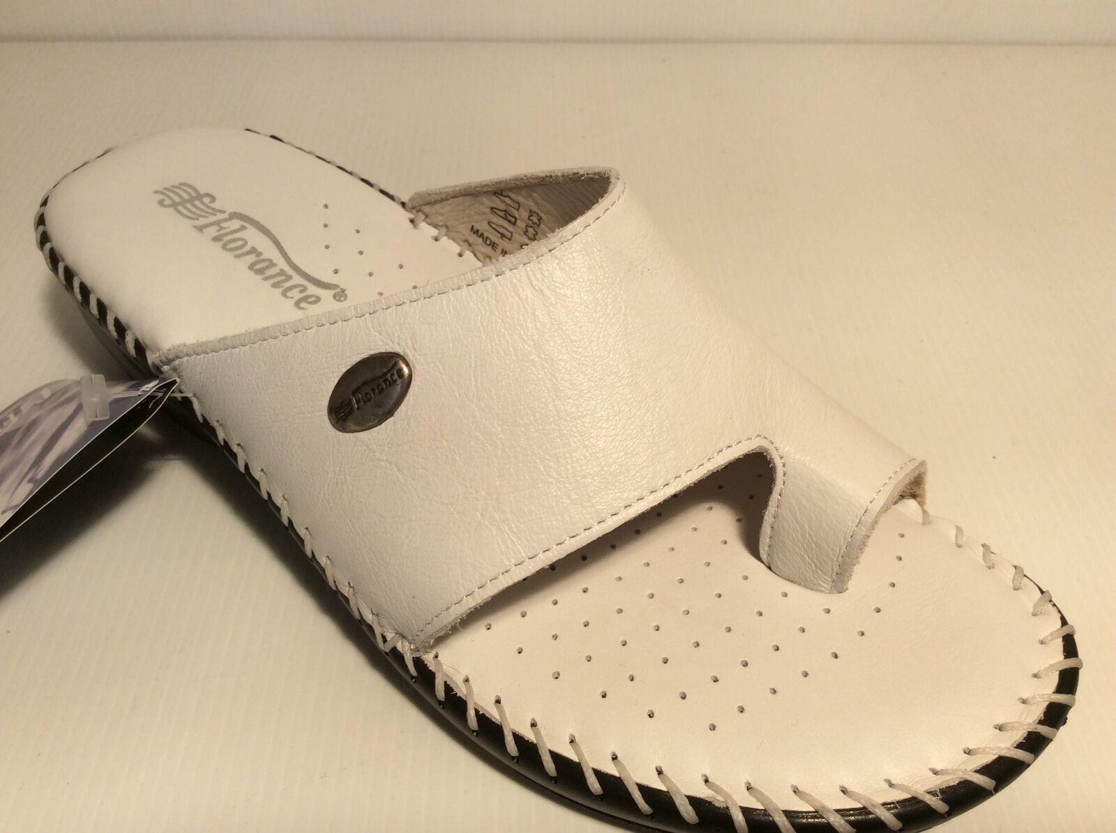 SCARPE CIABATTE DONNA FLORANCE INFRADITO 22540 bianco pelle zeppetta comoda