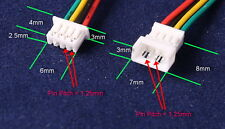 Micro JST 1.25mm GH ph 4-Pin hombre y hembra Conectores 100mm cables Freep & P UK
