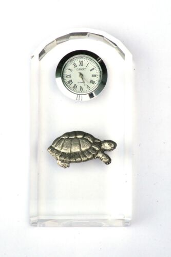 Tortoise Design Glass Clock Bedside or Desk Top Safari Gift Boxed