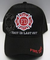 Fire Dept. Cap/hat Black 1st In Last Out Free Shipping