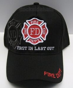 FIRE-DEPARTMENT-Cap-Hat-Black-New-034-1st-In-Last-Out-034-Free-Shipping