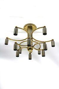 Hufnagel Leuchten 80er Jahre Deckenlampe Silber/ Gold 12 flammig (M47R)