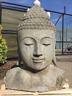 Large Sculpted Lava Stone Buddha Bust Head Japanese Garden Carved Bali Statue Ebay