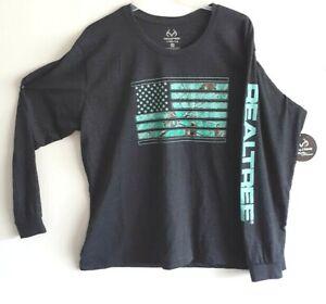 Realtree-Mens-Womens-Logo-Long-Sleeve-Crew-Neck-T-Shirt-Charcoal-Green-2XL-NWT