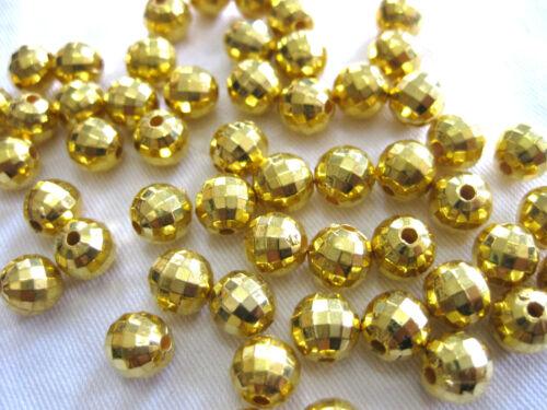 environ 7 mm 50 Acrylique-Perles en or avec facettes taille a7.1
