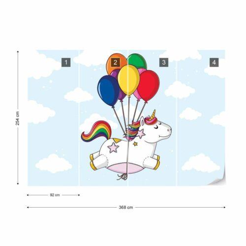 Papier Peint Nappes Papier peint pour enfants chambre volent licorne avec ballons