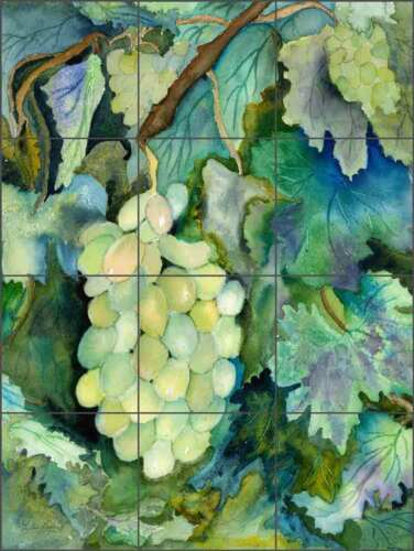 Grape Tile Backsplash Ceramic Mural Neufeld Kitchen Wine Cellar Art PNA004