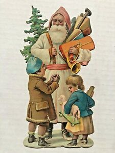 1890-039-s-Large-Die-Cut-Santa-w-White-Coat-Giving-Toys-to-Children