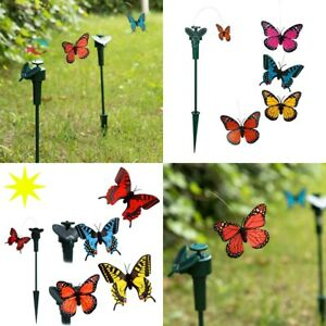 Mariposa Solar 7 x 6 cm + soporte de 7 x 44 x 7 cm, fotocelda, jardin, terraza