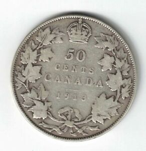 Canada 1913 50 Cents Half Dollar King George V Sterling Silver Canadian Coin Ebay
