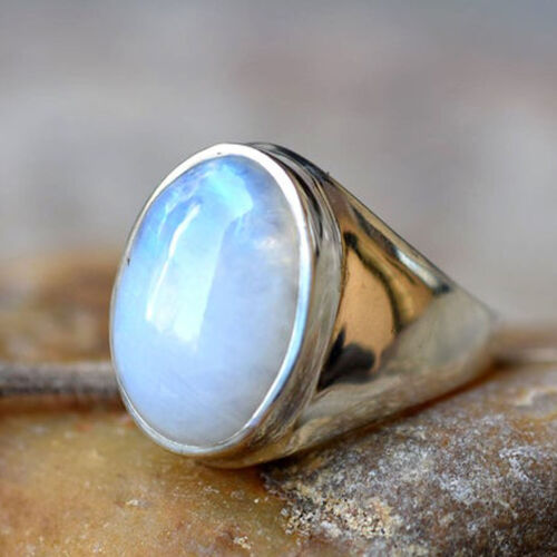 Solid 925 Sterling Silver Rainbow Moonstone Gemstone Ring Mens Ring Jewelry M13